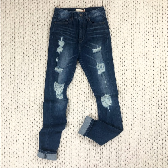 Just USA Distressed High Rise Skinny Jeans